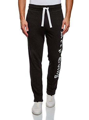 Oodji ultra uomo pantaloni in maglia con scritta, nero, it 42-44 / s