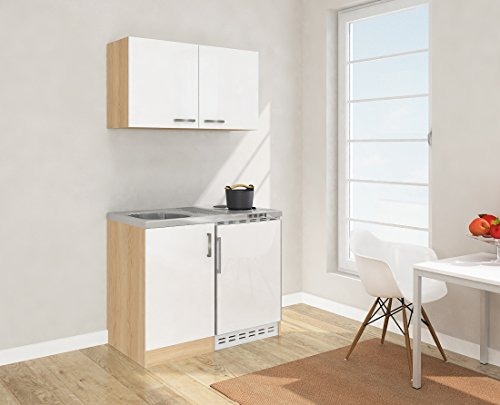 respekta Mini Küche Singleküche 100 cm inkl. Oberschrank Eiche Sägerau Nachbildung Front weiß MK 100 ESWOS