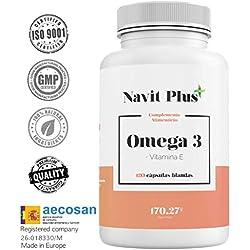 Omega 3 Ácidos grasos + Vitamina E. Alta dosis de EPA 700 mg y DHA 500 mg/ Dosis diaria | Fabricado en España |Complemento alimenticio a base de aceite de pescado puro. 120 cápsula blandas. ISO9001.