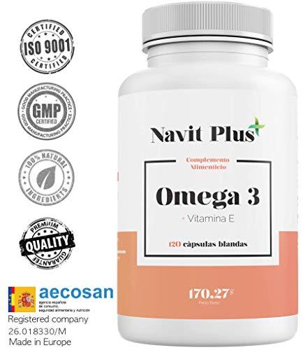 Acidi grassi omega 3 + vitamina e navit plus | alta concentrazione | dose elevata di epa (700 mg) e dha (500 mg). integratore alimentare a base di olio di pesce. 120 capsule molli. iso9001 & gmp.