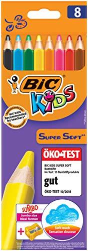 BIC Kids Jumbo Dreikant Buntstifte Set für Kinder ab 3 Jahren - malen wie Wachsmalstifte - Buntstifte 8er Set - 8 bruchsichere Stifte + Jumbo Anspitzer