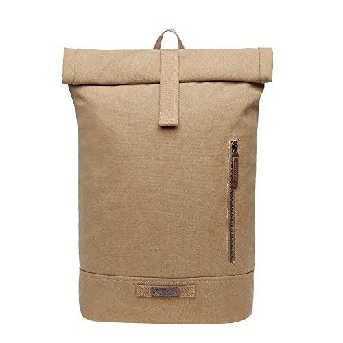 """KAUKKO Rucksack Roll Top Backpack Lässiger Vintage Tagesrucksack Herren Laptop Schulrucksack fit 15\"""" Notebook Bag für Wandern Reisen Cam..."""