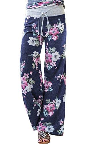 Angashion Damen Blumenmuster Weite Bein Lange Hose 0902 Navy Blau XL (Lounge Hose Tag)