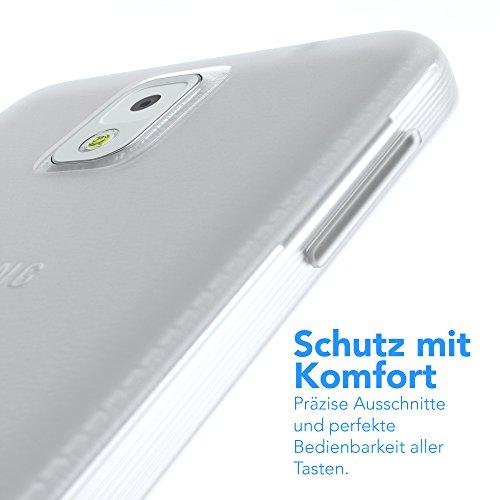 Samsung Galaxy Note 3 Hülle - EAZY CASE Ultra Slim Cover TPU Handyhülle Matt - dünne Schutzhülle aus Silikon in Transparent / Weiß Matt Transparent / Weiß