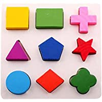 Spritumn Wooden Jigsaws, Kids Baby Children Wooden Intelligence Geometry Building Blocks Puzzle Early Learning Educational Toys