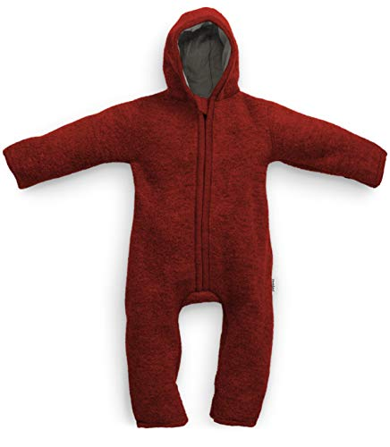 Ehrenkind® Made in Germany WALKOVERALL | Baby Wollwalk-Overalls aus Bio Natur Schurwolle mit Reißverschluss | Walk Wolle Woll-Anzug für Kleinkind und Baby | Mohnrot Gr. 86/92