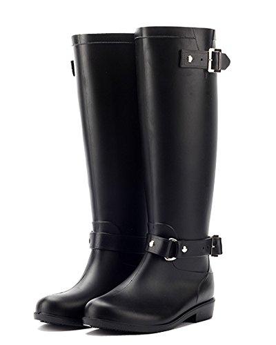 Minetom Damen Sommer Herbst Gummistiefel Reißverschluss Regenstiefel Wasserdicht Lange Stiefe Rutschfest Martin Stiefel Schwarz EU (Kostüm Piraten Toter)