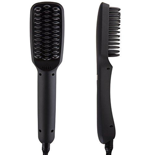 Anti-statische Keramik (nicetime-Haarbürste Haar, 2in 1Haarglätter ionisch, Anion unmittelbar Magie seidig gerade Haar Styling, Hot Anti statische Keramik Heizung für Entwirren Haar Schwarz)
