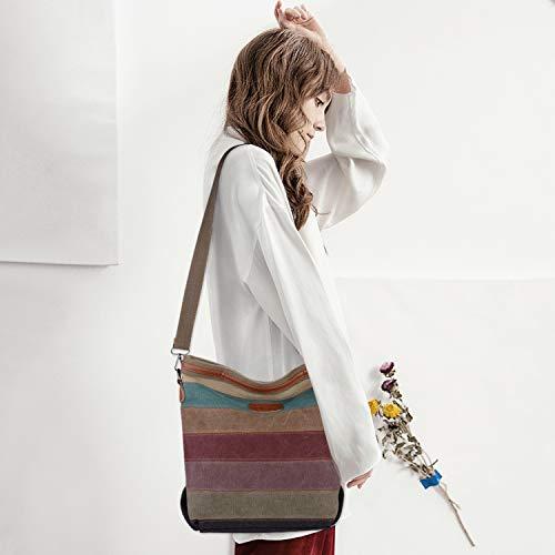 2014 Fashion Damen Mädchen Handtasche Umhängetasche Schultasche Alltagstasche Universal Leinwand Multifunktion mit Schulterträger - 2
