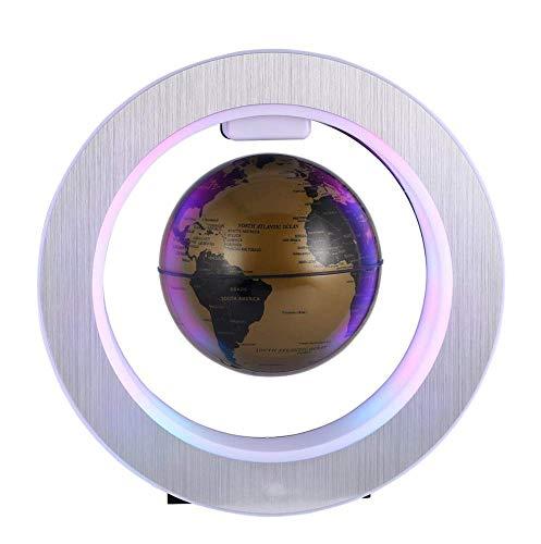 ESRW Magnetic Floating Globe, Levitazione Rotante Mappa del Mondo con Luci LED Formazione Anti Gravity Magnetica Globe, Decorazione Domestica Regalo di Compleanno per I Bambini,d'oro