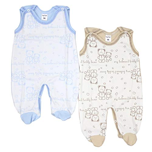 TupTam Unisex Baby Strampler Baumwolle Gemustert 2er Set, Farbe: Farbenmix 6, Größe: 74