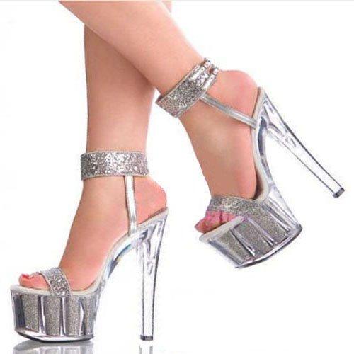 GTVERNH-spesse 14-16cm tacchi a spillo impermeabile sexy d'accordo con i sandali scarpe performance stadio corrisponde tutto modello passerella scarpe col tacco alto 39 argenteo