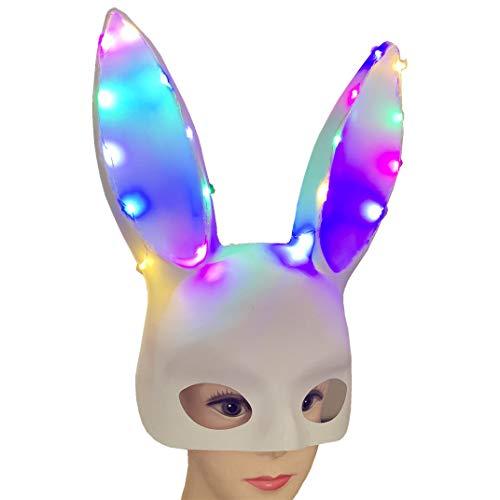 Myspace 2019 Neueste Dekoration für Halloween leuchtende Kaninchen Maske Party Bar Nachtclub Kostüm Ohr Maske (Kaninchen Kostüm Streich)