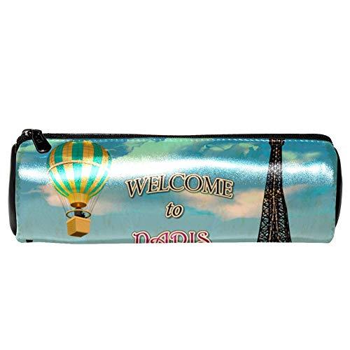 EZIOLY Vintage Paris lila Auto Hot Balloon Stifteetui Leder Federmäppchen Münztasche Kosmetik Make-up Tasche für Schule Arbeit Büro