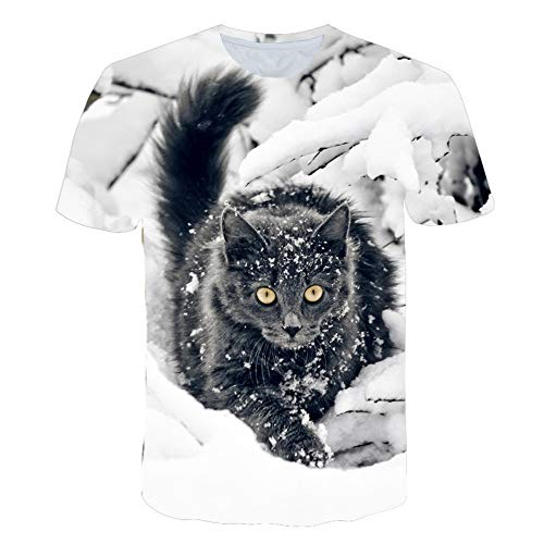 Weiße Kostüm Katze Schnee - XIAOBAOZITXU T-Shirt 3D-Digitaldruck Kurze Ärmel Unisex-Paar-Kostüm Katze Im Schnee Coole Lustige Lose Sportmode Großes T-Shirt 4XL