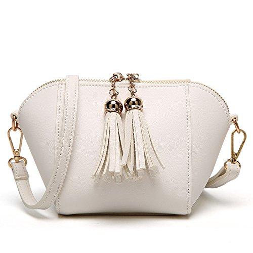 DYFHB Koreanische Art- Und Weisetroddel-kleine Quadratische Taschen-Schulter-Kurier-Beutel-Freizeit-Paket Tagesrucksack Tagesrucksack,White-13 * 13 * 11cm -