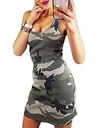4b67f386f0e64b Honghu Robe Moulante Moulante Sexy sans Manches et Camouflage pour Femmes de