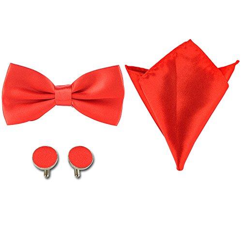 Defei Herren Fliege set in 35 Farben,mit ManschettenKnöpfe,Einstecktuch,Fliege und Geschenk Set.Verstellbar Schleife gebunden (12.5cm x 6.16cm),für Hochzeit,Anzug oder Smoking.
