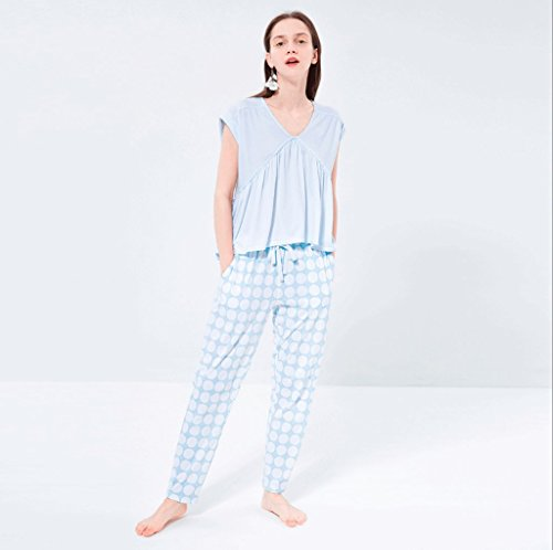0 Touch Sommer-Baumwolle einfach kurz-sleeved Wellenpunkt Hose Haus Service Anzug Blau