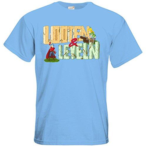 getshirts - Rocket Beans TV Official Merchandising - T-Shirt - Looten & Leveln Sky Blue