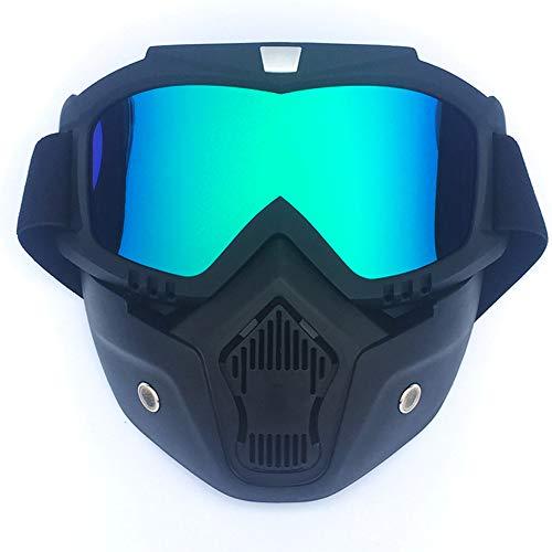Motorradhelm Mit Abnehmbarem Masken Spiegel-Brille Abnehmbare Anti-Nebel-Warme Brille Mund Filter Verstellbare Anti-Rutsch-Gürtel Vintage Harley Bullets Motorrad-Kreuz,Blue