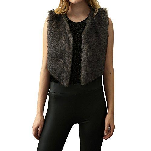 WINWINTOM Oversize Jacke Windbreaker Mantel Frühling Herbst Winter Stilvoll Bequem Outwear, Frauen-Faux-Pelz-Damen-Sleeveless Weste-Jacken-Gilet-Schulter-Mantel Outwear