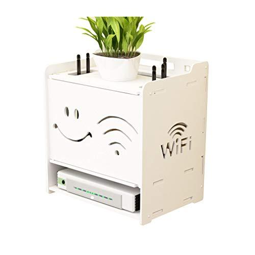 SXDERTY-stehendes Regal Wandregal Multifunktions Set-top Box Router Aufbewahrungsbox Linie Box Desktop Finishing Box Freies Bohren Lagerregal Umweltschutz Material Weiß (26,5 * 25 * 18) (Farbe : #2) - Eisen-box-board