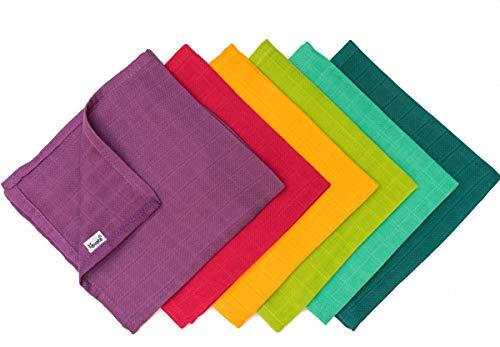 divata 35x35 cm Mulltücher (Regenbogen Mini 6er Set) - kleine, bunte Baby Spucktücher, Mull Waschlappen aus weicher Baumwolle | Oeko-Tex-Zertifiziert