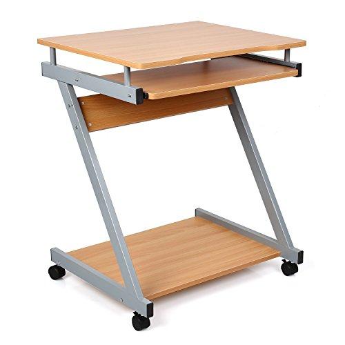 HOMFA Computertisch Computerschreibtisch Computerwagen Bürotisch Schreibtisch PC Tisch Arbeitstisch Laptop Tisch für Hause Office (Buche mit Roller)