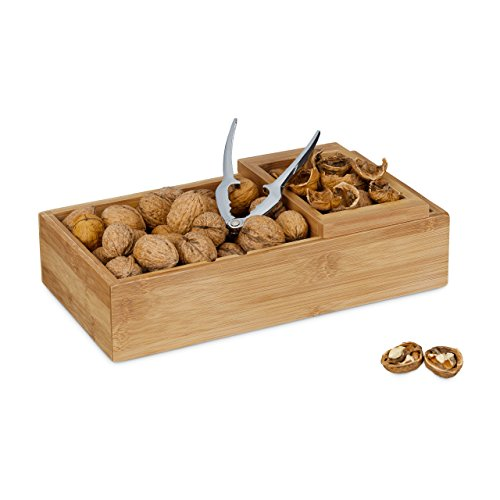 Relaxdays Nussschale mit Nussknacker & Abfallschale, Bambus, Zange, 3-teiliges Set, HxBxT: 8 x 30 x 16 cm, natur