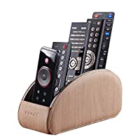 PUSU TV Remote Control Holder with 5 Compartments,Pu Leather Remote Caddy/Box/Tray Bedside Table Desk Storage Organizer for DVD, Blu-Ray, Media Player, Heater Controllers,Makeup,Home or Office Supplie