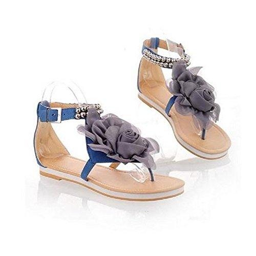 Minetom Donne scarpe casual Infradito Piatte con Fiori Sandali Boemi Dolci d'estate Scarpe Blu