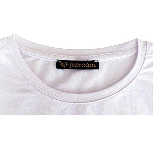 JustCool Herren T-Shirt Weiß & Schwarz Rundhals | Kurzarm | Motiv Lion1