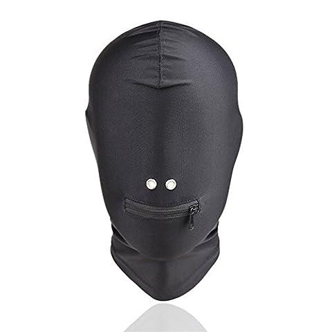 BDSM Masque complet Unisexe Capuche Fermeture Éclair Bouche casque pour