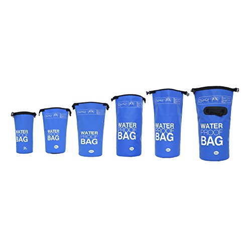 DonDon wasserdichter Outdoor Dry Bag Beutel Sack Trockentasche mit Riemen Schutz vor Wasser Trockenbeutel für Ihre Wertsachen und Gegenstände blau 5 Liter (Großer Packsack)