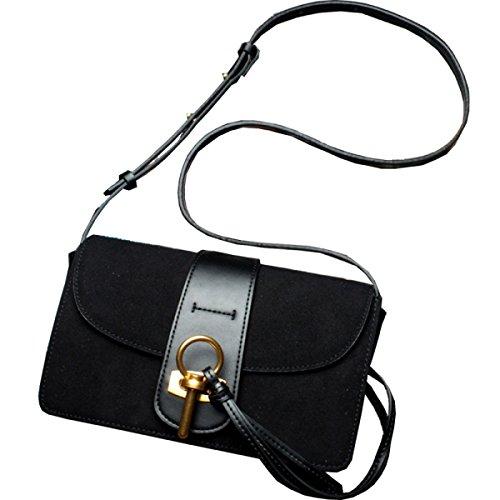Le Donne Cuoio Genuino Opaco Mini Singola Spalla Crossbody Cell Phone Sacchetto Del Raccoglitore Black