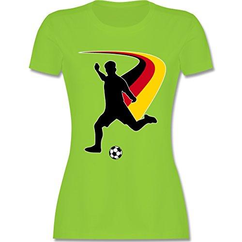 EM 2016 - Frankreich - Fußballspieler + Deutsche Flagge - tailliertes Premium T-Shirt mit Rundhalsausschnitt für Damen Hellgrün