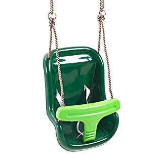 Deluxe Green Baby Swing Seat with Secure 3 Point Harness Safety System