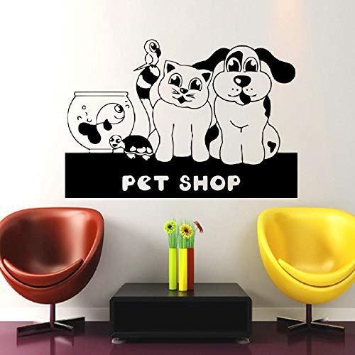yaoxingfu Hundepflege Salon Pet Shop Aufkleber Muurstickers Poster Vinyl Wandkunst Aufkleber Parede Decor Wandbild Pet Shop Sti gelb 40x58cm (Ford Galaxie Grill)