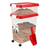 3 Piece Pet Food Airtight Storage Container With Plastic Measuring Scoop Treats And Dry Food Storage and Dispenser For Dogs Cats and Various Small Pets (Red)