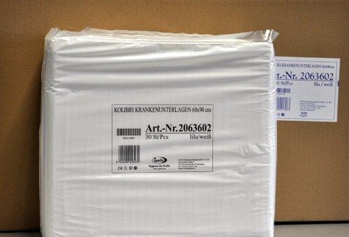 4x30 Stück Krankenunterlagen mit hautfreundlicher Vliesabdeckung, Kolibri KU, 60x90 cm, Farbe lila/weiß gestreift