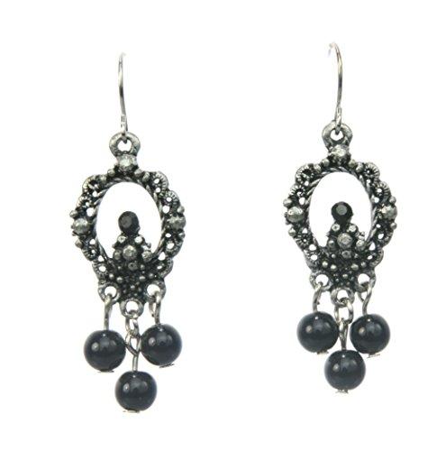 Vintage Ohrringe mit schwarzen Perlen - antiker Ohrschmuck - Antikschmuck - Schmuck