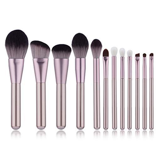 12 pièces Fibre Set de pinceau de maquillage Fondation Kabuki Correcteur de mélange Liquide pour les yeux Poudre Crème Ensembles de brosses Ensemble d'outils de beauté