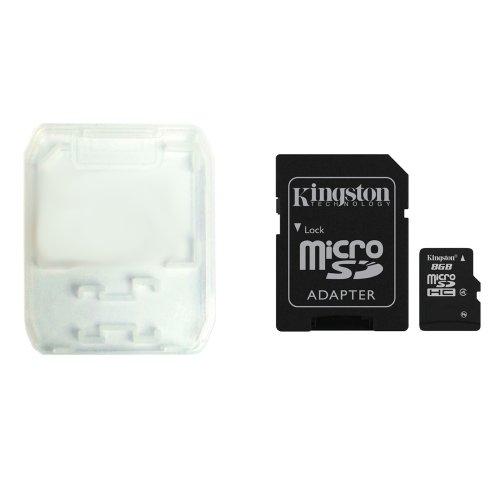 Kingston 8GB 8 G GB Class 4 SDC4/8GB Micro SD SDHC TF Flash Memory Card Speicherkarte Speicher karte w/ QUMOX Card Case