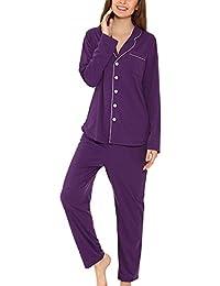 d69d4f296c37 Yulee Damen Schlafanzug Gesäumtes Pyjama Classics Nachthemd und Hose Set in europäischen  Größen