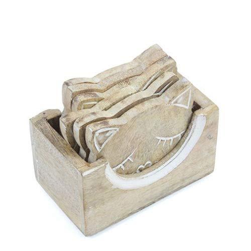 Set aus 6geschnitzten Holz-Katzen-Untersetzern in einem Holzständer - Carved Wooden Coaster