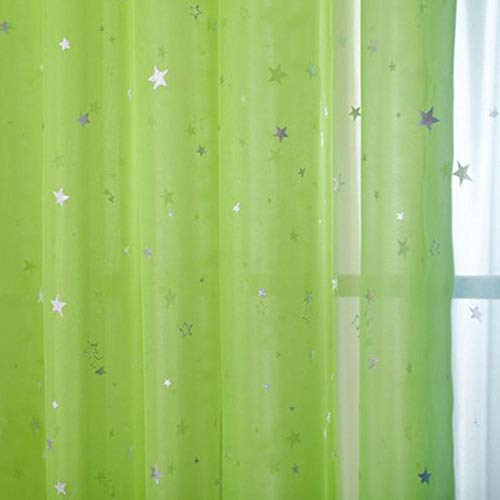 PENVEAT White Star Tüll Vorhänge Moderne Vorhänge für Wohnzimmer Transparente Tüll Vorhänge Fenster Vorhänge Sheer für das Schlafzimmer 234 & 20, Grün, B200cm x H260cm, Haken