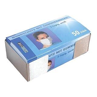 Ärztebedarf Mundschutz PüNktlich 50 Stück 3-lagig Hygostar Maske Mundschutz Gummibänder Atemschutzmaske Weiß