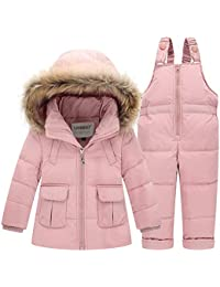 9cf3c054f SANMIO Kids Baby Toddler Winter Snowsuit Polka Dot Puffer Jacket Hoodie  Coat Down Snowpants Bib Down