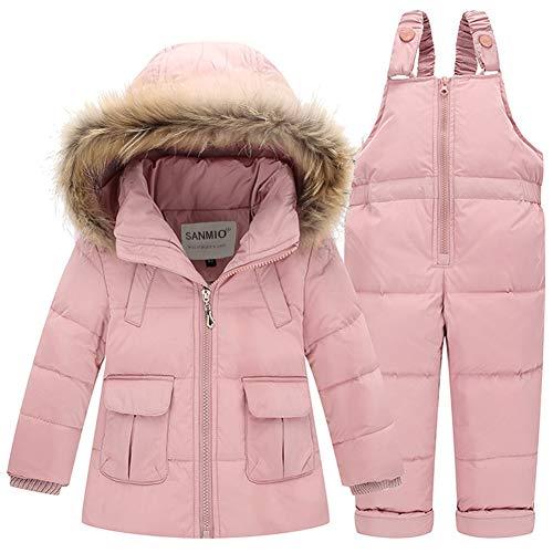 SANMIO Baby Mädchen Jungen Daunenjacke Bekleidungsset Kinder Verdickte Winterjacke + Winterhose Kleinkind Daunenhose Kinderskianzug